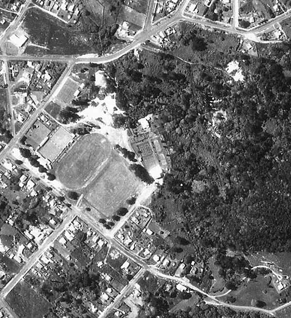 1971 aerial photograph of the Mill Stream Walkway area. Note the exposed ground at the dump site, seen above the oval cycle track on the Recreation Ground.